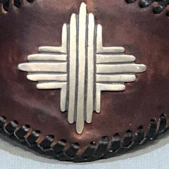 Glenn Green Galleries Silver Sun leather cuff bracelet - 1758901
