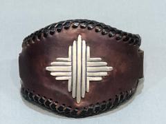 Glenn Green Galleries Silver Sun leather cuff bracelet - 1758902