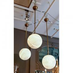 Glustin Luminaires Alabaster and Brass Globes Pendant - 736068