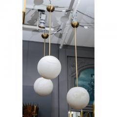 Glustin Luminaires Alabaster and Brass Globes Pendant - 736070