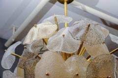 Glustin Luminaires Brass Sphere with Murano Glass Leaves Chandelier - 716244