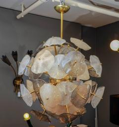 Glustin Luminaires Brass Sphere with Murano Glass Leaves Chandelier - 716245