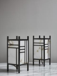 Glustin Luminaires Brass and Alabaster Andon Table Lamp by Glustin Luminaires - 1927767