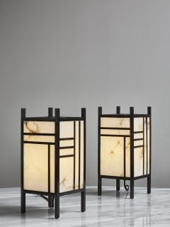 Glustin Luminaires Brass and Alabaster Andon Table Lamp by Glustin Luminaires - 1927768