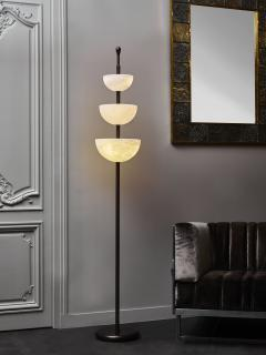 Glustin Luminaires Brass and Alabaster Cups Floor Lamp by Glustin Luminaires - 1945427
