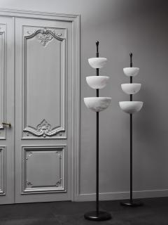 Glustin Luminaires Brass and Alabaster Cups Floor Lamp by Glustin Luminaires - 1945433