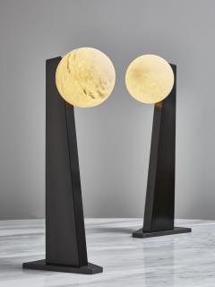 Glustin Luminaires Glustin Luminaires Asymmetrical Brass Table Lamp with alabaster Globe - 1924711
