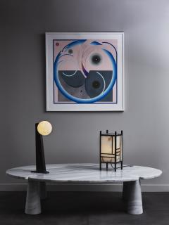 Glustin Luminaires Glustin Luminaires Asymmetrical Brass Table Lamp with alabaster Globe - 1924716