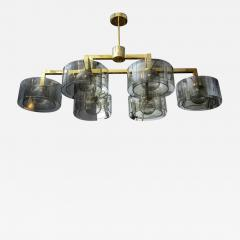Glustin Luminaires Glustin Luminaires Creation Brass Chandelier with Grey Glass Cylinder - 722010