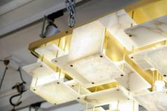 Glustin Luminaires Glustin Luminaires Creation Brass and Alabaster Tiles Ceiling Lamp - 720631