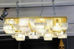 Glustin Luminaires Glustin Luminaires Creation Brass and Alabaster Tiles Ceiling Lamp - 720632