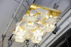 Glustin Luminaires Glustin Luminaires Creation Brass and Alabaster Tiles Ceiling Lamp - 720635