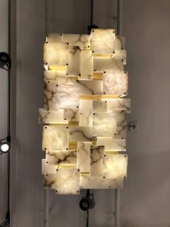 Glustin Luminaires Glustin Luminaires Creation Brass and Alabaster Tiles Ceiling Lamp - 720636