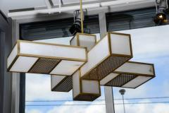 Glustin Luminaires Glustin Luminaires Creation Geometrical Brass and Alabaster Chandeliers - 727195
