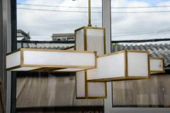 Glustin Luminaires Glustin Luminaires Creation Geometrical Brass and Alabaster Chandeliers - 727196