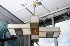 Glustin Luminaires Glustin Luminaires Creation Geometrical Brass and Alabaster Chandeliers - 727197