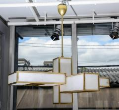 Glustin Luminaires Glustin Luminaires Creation Geometrical Brass and Alabaster Chandeliers - 727198