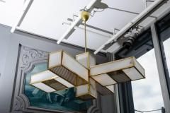 Glustin Luminaires Glustin Luminaires Creation Geometrical Brass and Alabaster Chandeliers - 727199
