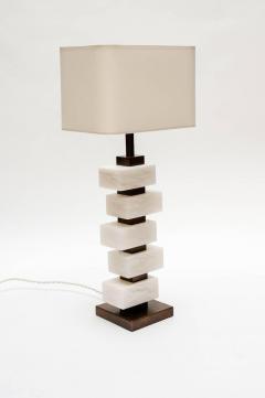 Glustin Luminaires Glustin Luminaires Creation Pair of Brass and Alabaster Bricks Table Lamps - 721475