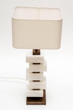 Glustin Luminaires Glustin Luminaires Creation Pair of Brass and Alabaster Bricks Table Lamps - 721476
