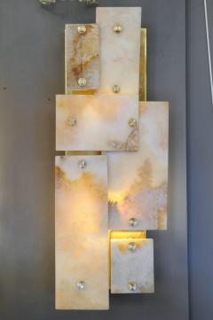Glustin Luminaires Pair of Glustin Luminaires Creation Brass and Marble Wall Sconces - 720848