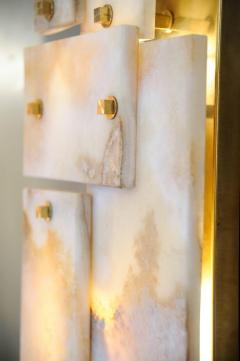 Glustin Luminaires Pair of Glustin Luminaires Creation Brass and Marble Wall Sconces - 720851
