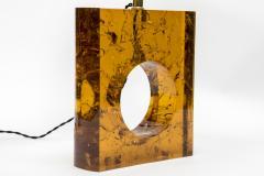Glustin Luminaires Pair of Orange Fractal Resin Square Table Lamps - 976512