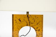 Glustin Luminaires Pair of Orange Fractal Resin Square Table Lamps - 976513