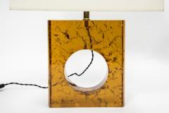 Glustin Luminaires Pair of Orange Fractal Resin Square Table Lamps - 976514