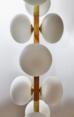 Glustin Luminaires Wide Brass Chandelier with Globes - 1173797