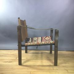 Gold Medal American Mid Century Modern Safari Chair 1940s Turkish Kilim Seating - 1747434