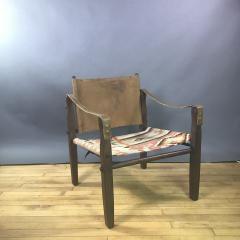 Gold Medal American Mid Century Modern Safari Chair 1940s Turkish Kilim Seating - 1747435