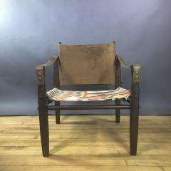 Gold Medal American Mid Century Modern Safari Chair 1940s Turkish Kilim Seating - 1747436