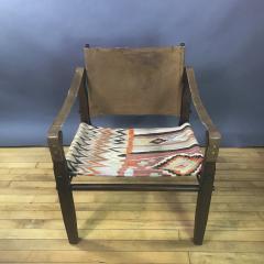 Gold Medal American Mid Century Modern Safari Chair 1940s Turkish Kilim Seating - 1747439