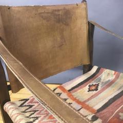 Gold Medal American Mid Century Modern Safari Chair 1940s Turkish Kilim Seating - 1747444