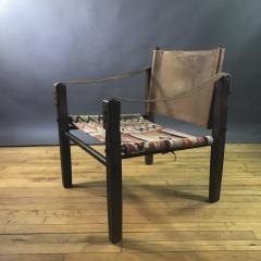 Gold Medal American Mid Century Modern Safari Chair 1940s Turkish Kilim Seating - 1754293