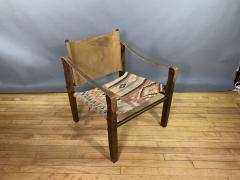 Gold Medal Mid Century Gold Medal Safari Chair Turkish Kilim Seating - 1792306