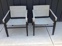 Gold Medal Pair of 1950s Grey Leather Goldmedal Chair Co Chairs Styel Kare Klimt - 1681300