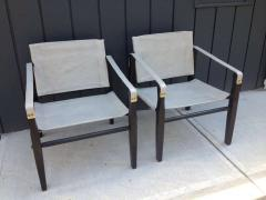 Gold Medal Pair of 1950s Grey Leather Goldmedal Chair Co Chairs Styel Kare Klimt - 1681314