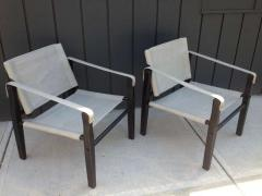 Gold Medal Pair of 1950s Grey Leather Goldmedal Chair Co Chairs Styel Kare Klimt - 1681323