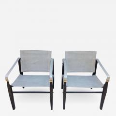 Gold Medal Pair of 1950s Grey Leather Goldmedal Chair Co Chairs Styel Kare Klimt - 1682759