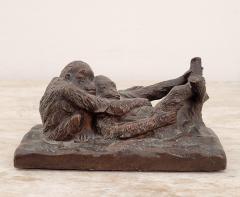 Gorham Manufacturing Co Circa 1900 Rare Gorham Sculpture of Relaxing Monkeys - 2074955