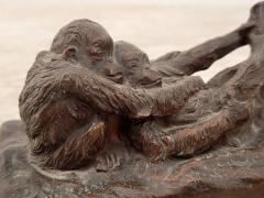 Gorham Manufacturing Co Circa 1900 Rare Gorham Sculpture of Relaxing Monkeys - 2074959