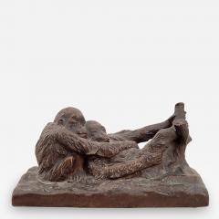 Gorham Manufacturing Co Circa 1900 Rare Gorham Sculpture of Relaxing Monkeys - 2075741