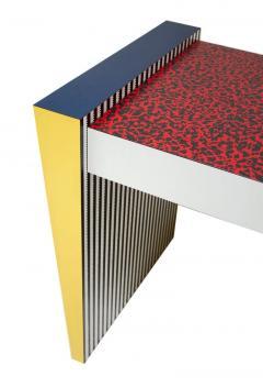 Grace Designs Ettore Sottsass Memphis Desk in Spugnatto Red Laminate from Grace Designs 1985 - 2142896