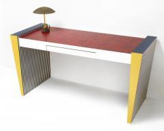 Grace Designs Ettore Sottsass Memphis Desk in Spugnatto Red Laminate from Grace Designs 1985 - 2142898