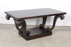 Grosfeld House Grosfeld House Carved Walnut Plume Coffee Table - 884631