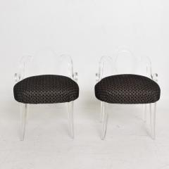 Grosfeld House Hollywood Regency Glamour Pair of Lucite Side Chairs by GROSFELD HOUSE 1940s - 1559386