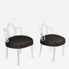 Grosfeld House Hollywood Regency Glamour Pair of Lucite Side Chairs by GROSFELD HOUSE 1940s - 1560508