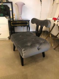 Grosfeld House Hollywood Regency Grosfeld House Tufted Gray Mohair Ebonized Wood Slipper Chair - 612238